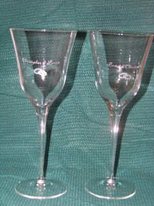 Toasting Glasses-Wedding Rings and Names