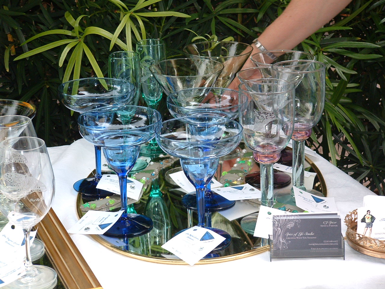 """Grouping of the Sea Trilogy and Conch Shell stemware designed by Ella Chabot and engraved by Connie """"CJ"""" Spicer"""